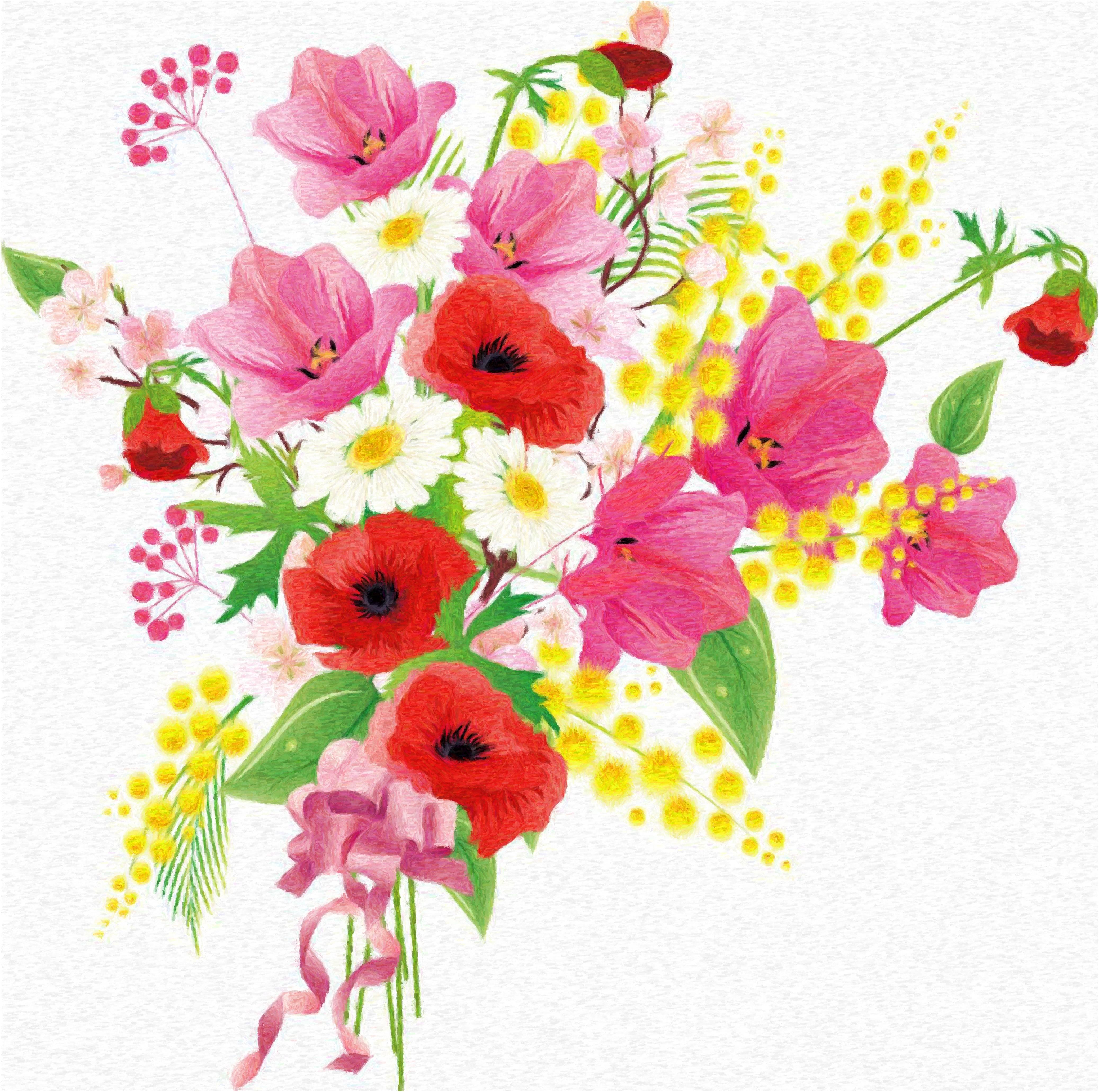 Рисунок цветы букет