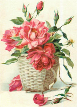 розы в плетеной корзинке