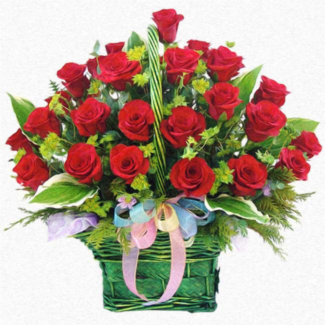 большой красивый букет красных роз