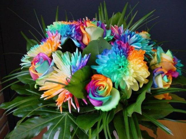 Необычный букет цветов фото